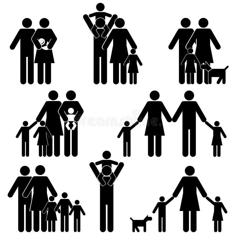 Family icon set. Family with kids icon set royalty free illustration