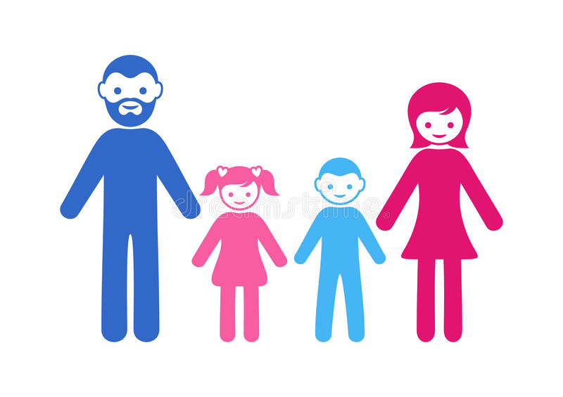 Family icon with two children stock illustration