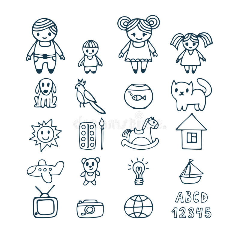 Family icons set in doodle style. Hand drawn design elements. Dr stock illustration