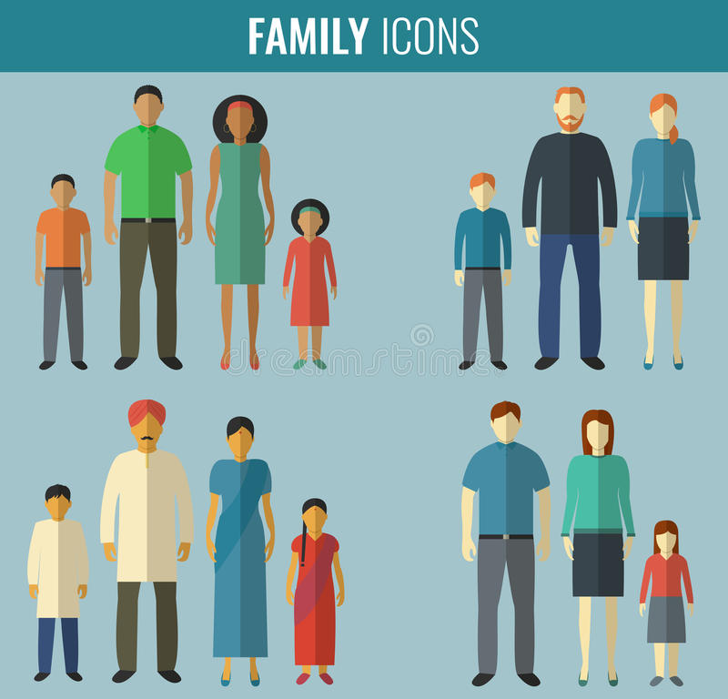 Family icons set. Traditional Culture. Vector. Illustration vector illustration