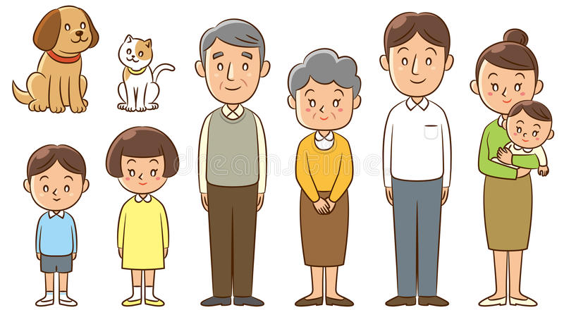 Family. An Illustration of family charactor standing royalty free illustration