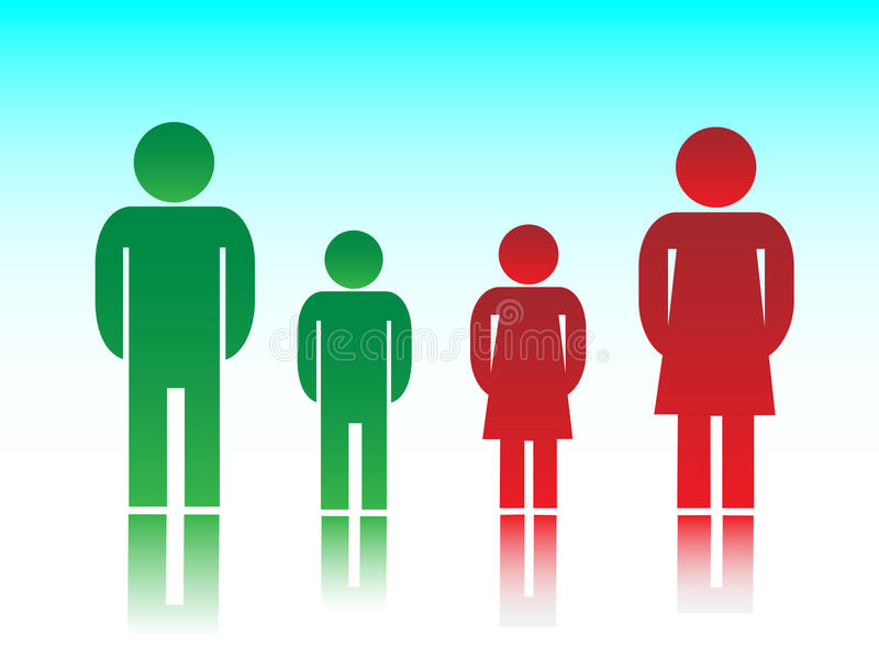 The family. Illustration of family members in red and green stock illustration