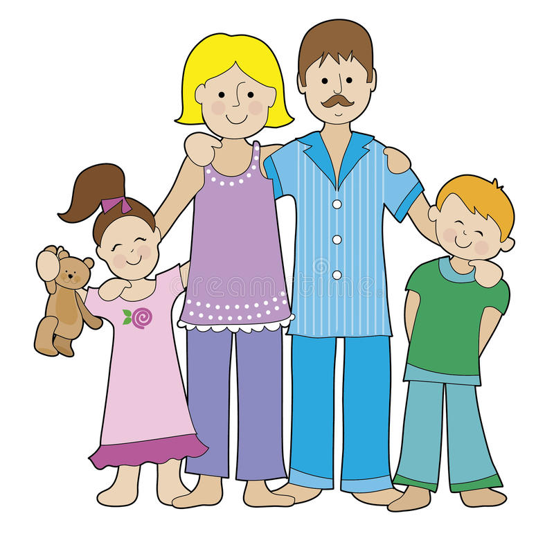 Free Family In Pajamas Royalty Free Stock Photography - 34459627