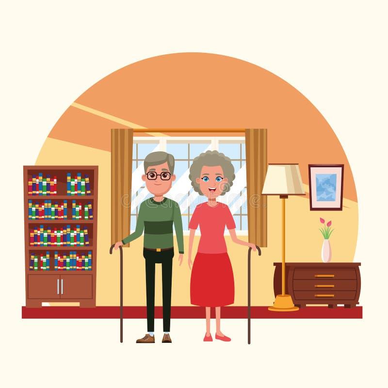 Family inside home scenery cartoons vector illustration