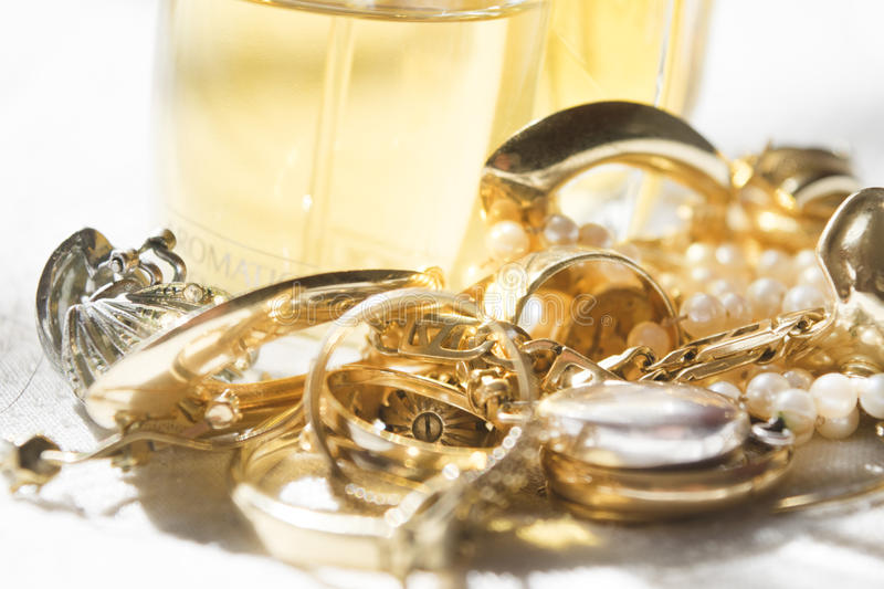 Family jewels and perfumes stock photography