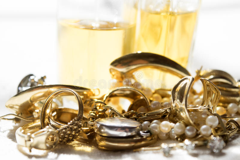 Family jewels and perfumes royalty free stock photography