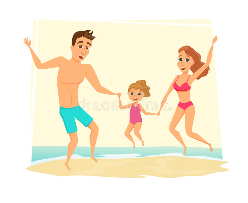 Family jumping on the beach stock illustration