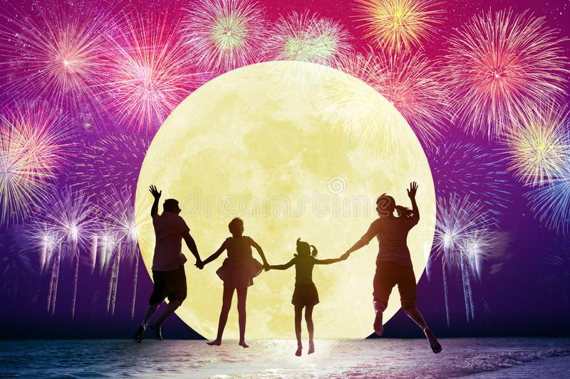 Family jumping on beach and watching the moon.Celebrating stock illustration
