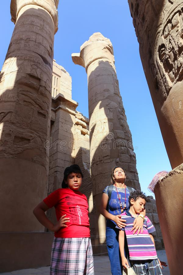 Family at Karnak Temple at Luxor - Egypt. Architecture of Karnak Temple at Luxor - Egypt Karnak temple most huge temple at Egypt stock photos