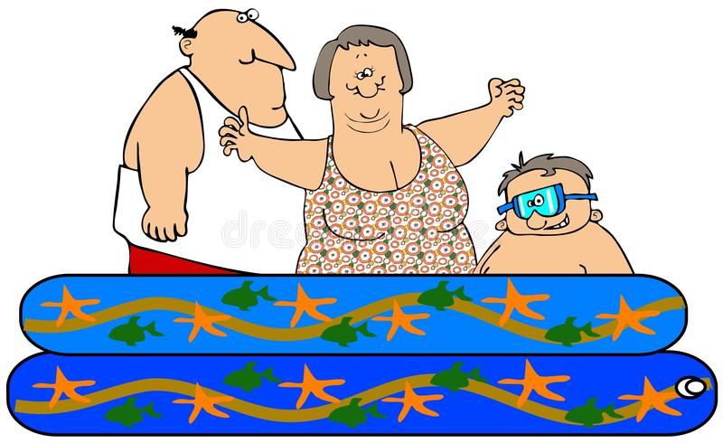 Download Family in a kiddie pool stock illustration. Image of illustration - 31607927
