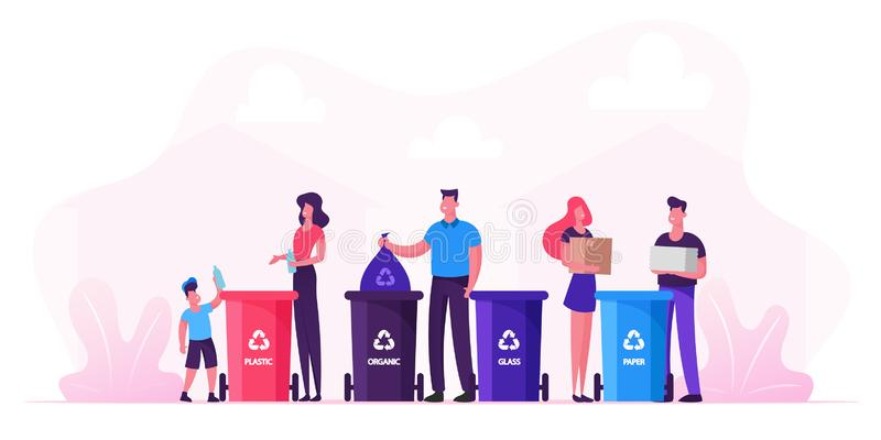 Family With Kids Collect Litter Bring it to Recycle Bins, People Recycling Garbage in Different Containers royalty free illustration