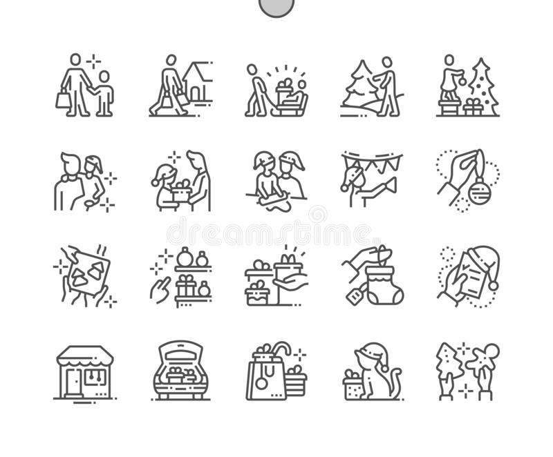 Family with kids prepare for christmas Well-crafted Pixel Perfect Vector Thin Line Icons 30 2x Grid for Web Graphics and stock illustration