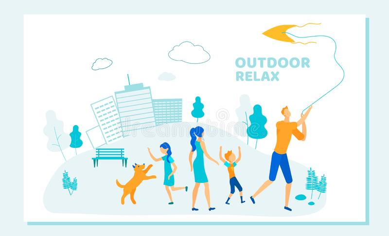 Family with Kids Spend Time Open Air on Weekend. Outdoor Relax, Summer Time Activity. Family with Kids Spend Time Open Air. Parents Playing with Children and Dog vector illustration