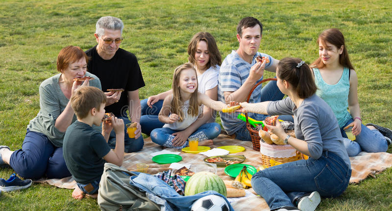 Family with kids talking and eating pizza in park royalty free stock images