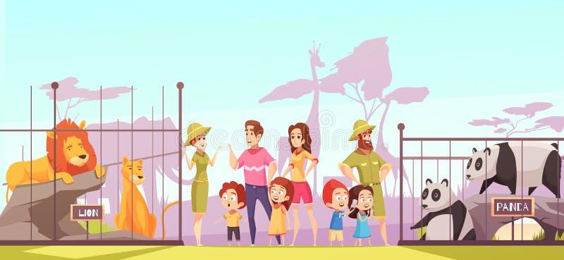 Zoo Family Visit Cartoon Poster Stock Vector