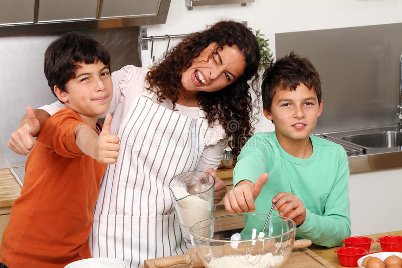 Family in the kitchen stock image