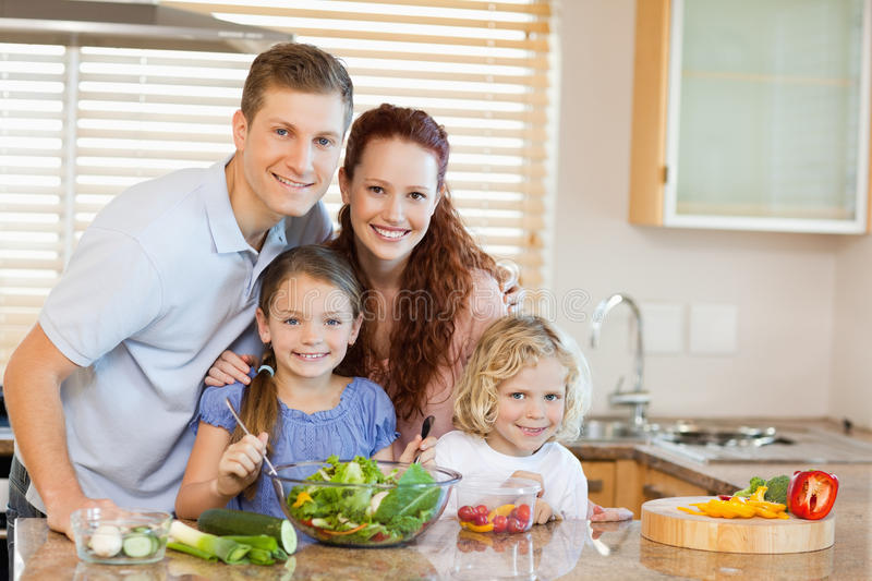 Family in the kitchen. Family together in the kitchen stock images