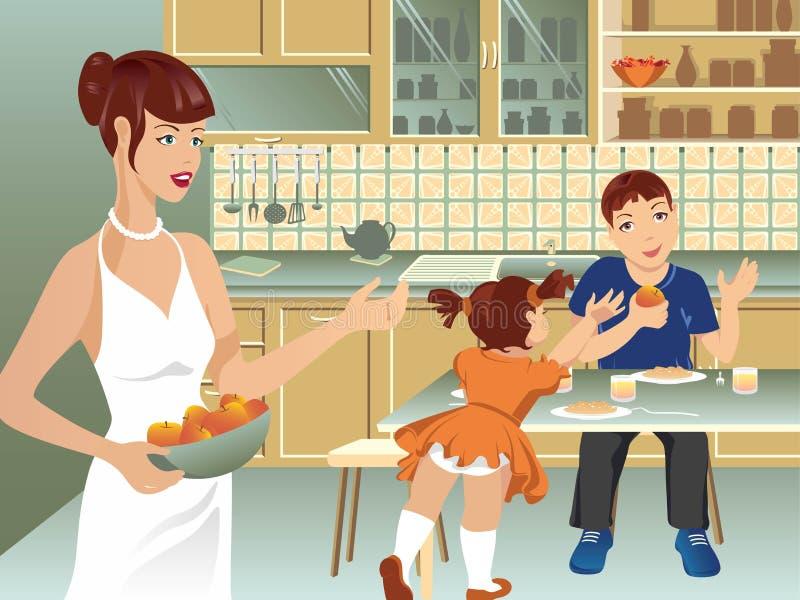 Family on kitchen vector illustration