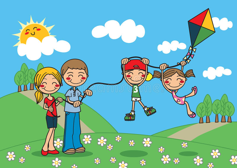 Download Family Kite stock vector. Image of flowers, outdoors - 14667643