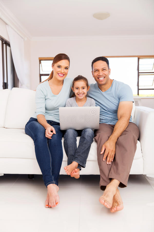 family laptop computer royalty free stock image