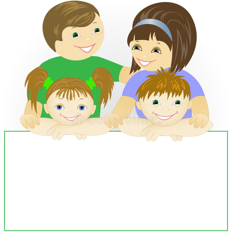 Family With A Large Poster Stock Image