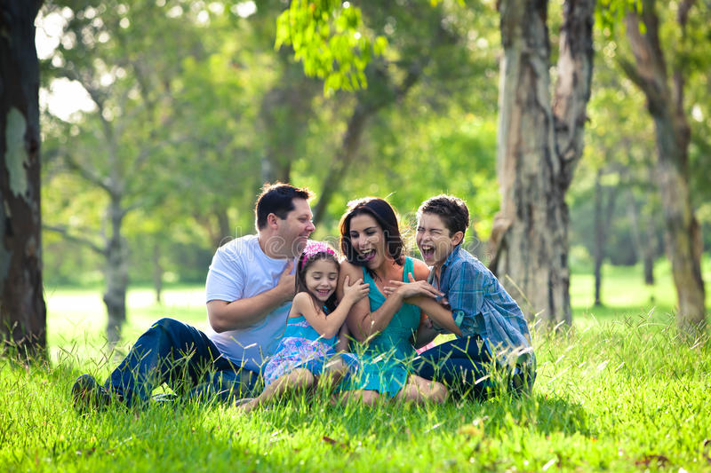 Family laughing during picnic stock images