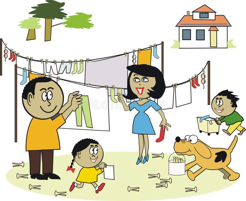 Family laundry cartoon royalty free illustration
