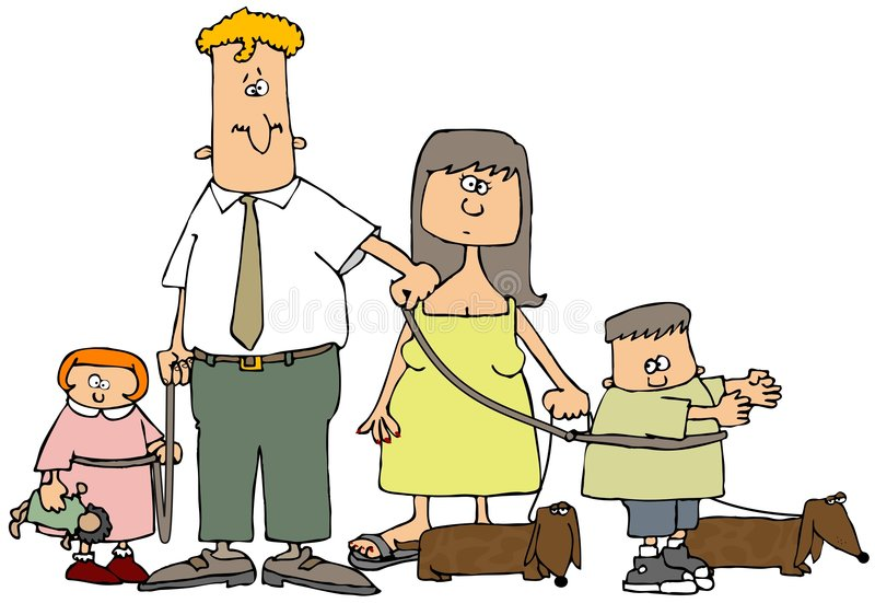 Family On A Leash stock illustration