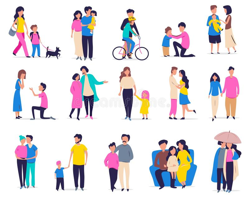 Family leisure and activity. Vector illustration with couples, families with children and friends in flat cartoon style. Parents. And children, walking a dog stock illustration