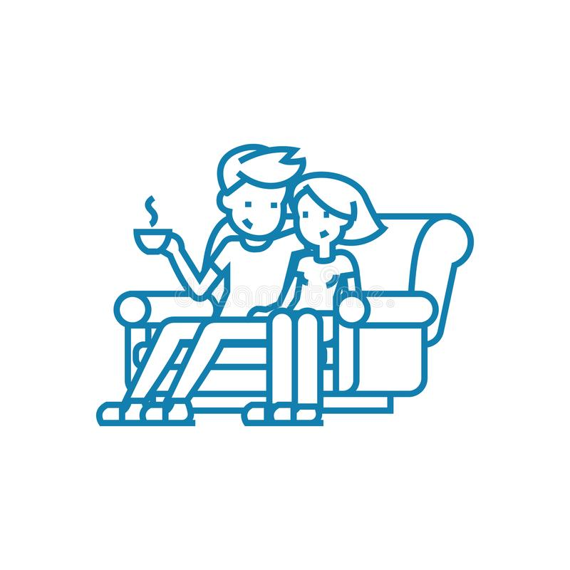 Family leisure linear icon concept. Family leisure line vector sign, symbol, illustration. royalty free illustration