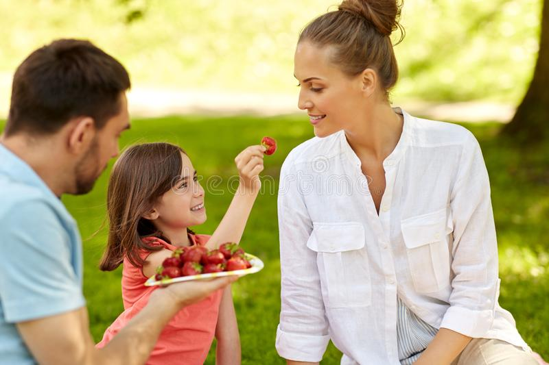 Family eating strawberries on picnic at park royalty free stock image