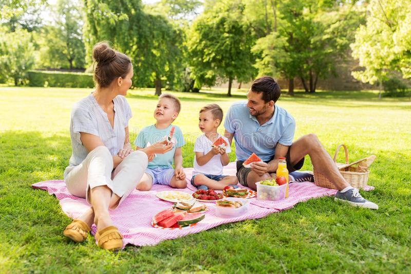 Happy family having picnic at summer park stock photos