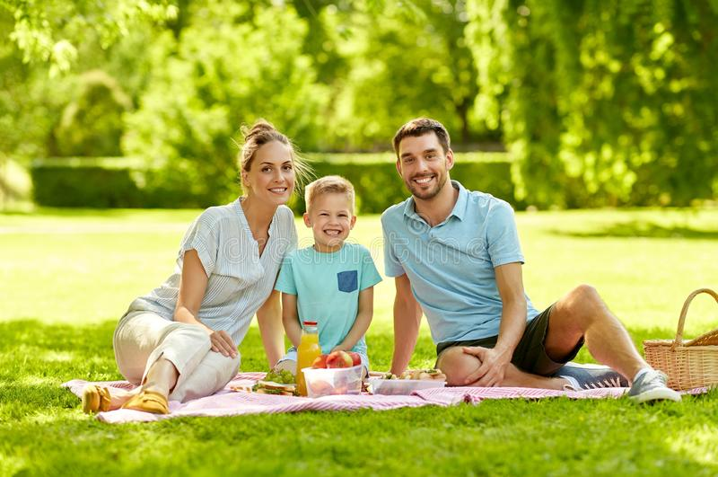 Portrait of family having picnic at summer park stock photo