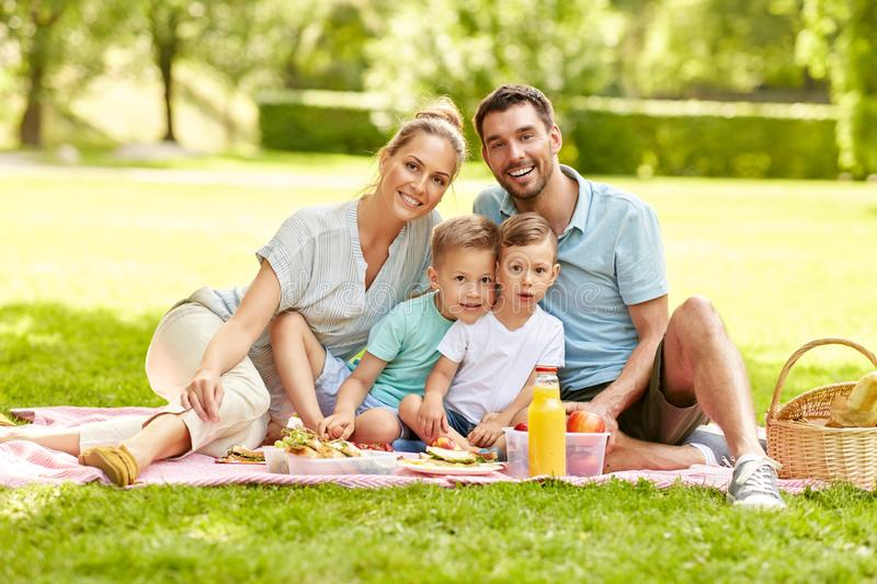 Portrait of family having picnic at summer park royalty free stock images