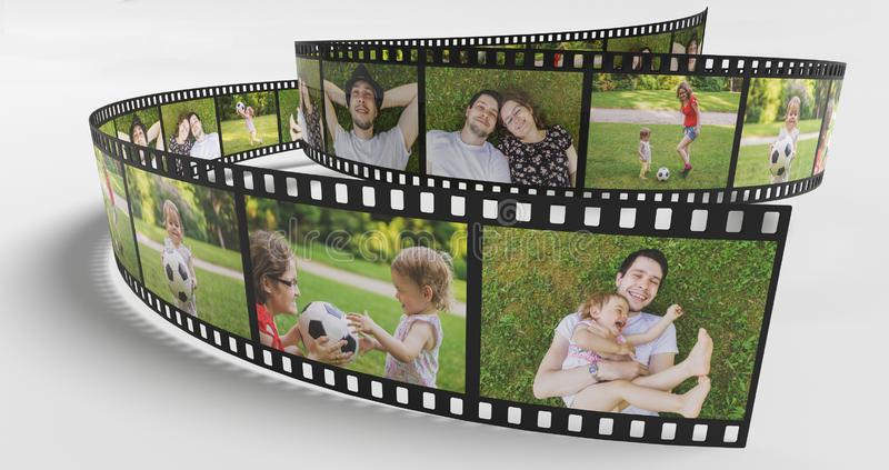 Family life concept. Photos of happy family on film strip. 3D rendered illustration vector illustration