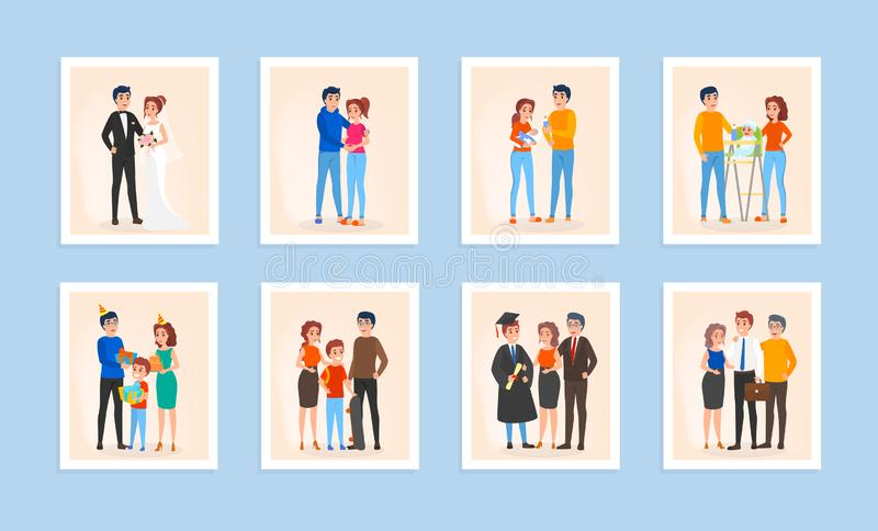 Family life cycle set. Couple in love vector illustration