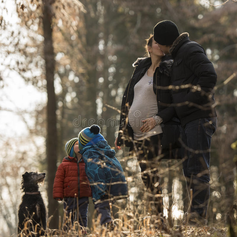 Family life and happiness. Pregnant mum and her husband kissing each other standing next to their two kids also giving each other a kiss, black dog standing stock image