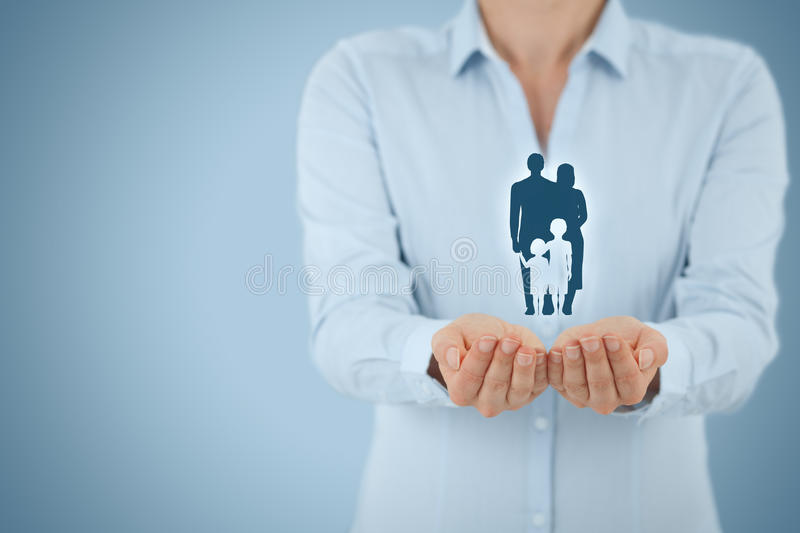 Family life insurance and policy. Family life insurance, family services and supporting families concepts. Businesswoman with protective gesture and silhouette royalty free stock images