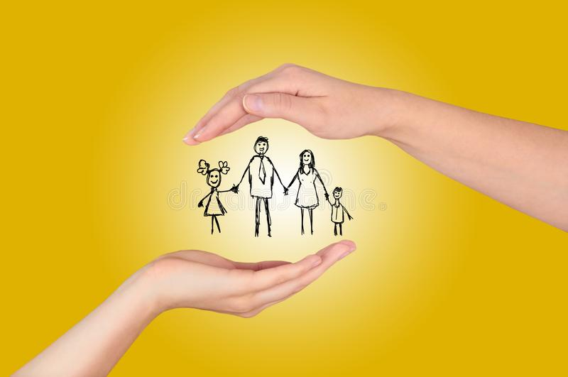 Family life insurance,Property insurance and security concept , Protecting. Open hand making a protection gesture isolated on yellow background stock image