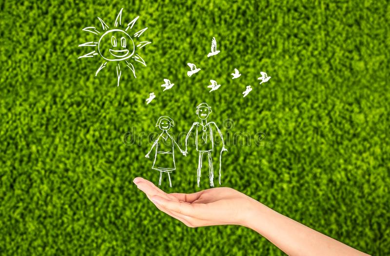 Family life insurance, protecting family, family concepts.Elderly. Two Woman`s open hands making a protection gesture isolated on green background.Family life royalty free stock images