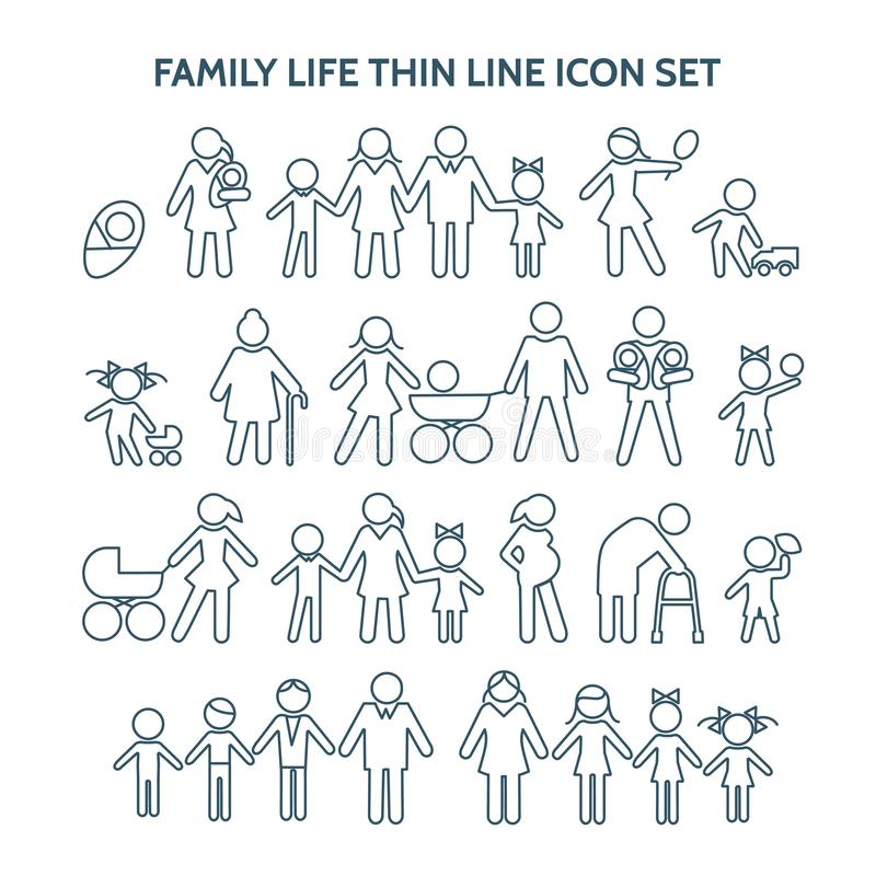 Family life thin line icons royalty free illustration