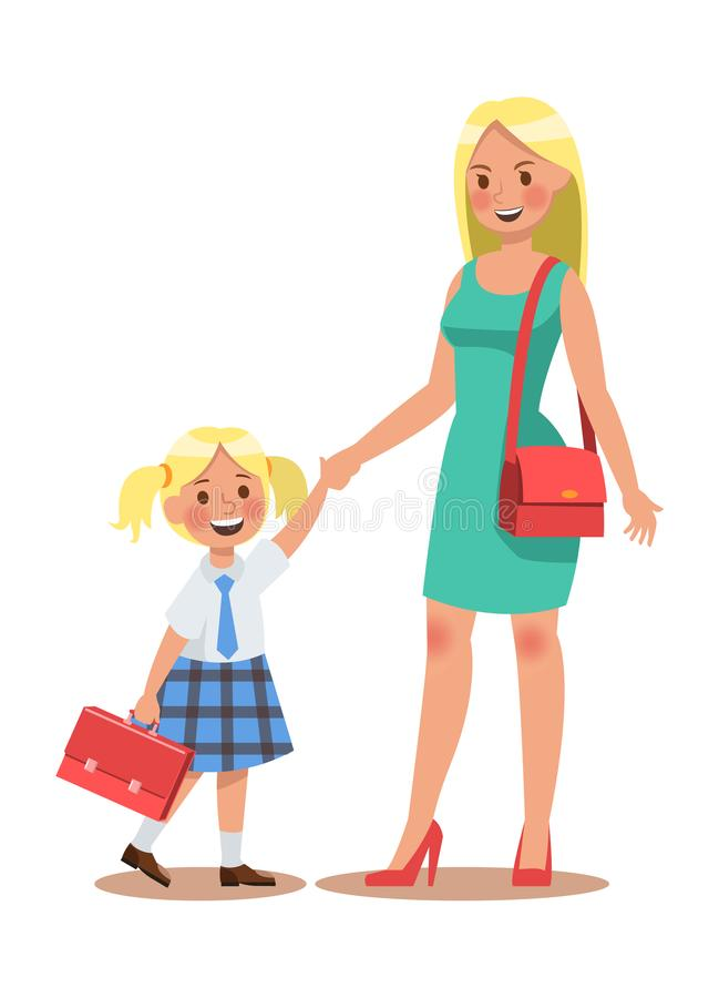 Family lifestyle. Parents take their children to the school in the morning. Happy kids go to school. No.4 royalty free illustration