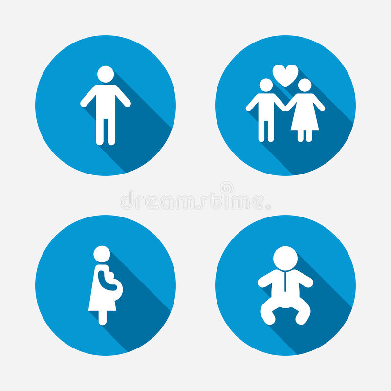 Family lifetime icons. Couple love and pregnancy royalty free illustration
