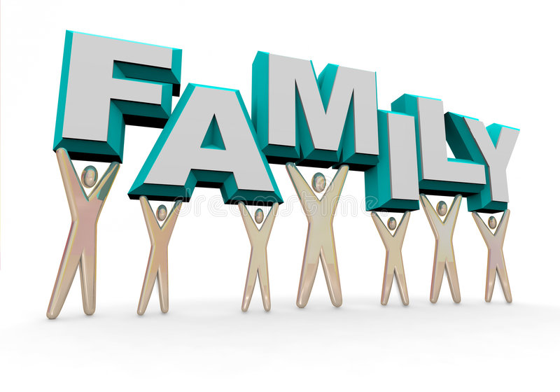 Family - Lifting the Word. A set of figures representing a familly lifting the word family stock illustration
