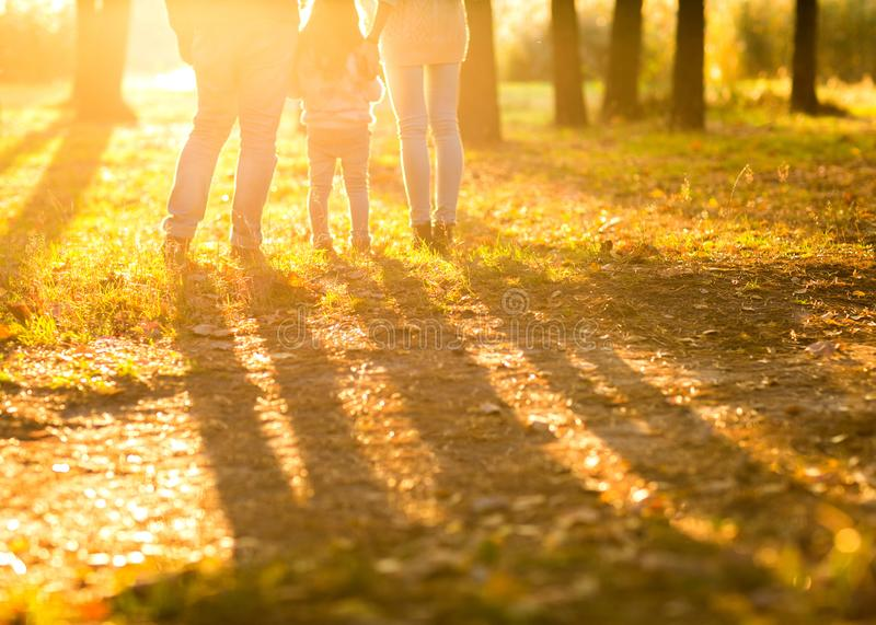 Family with little daughter spend fun time in autumn park at su stock photo