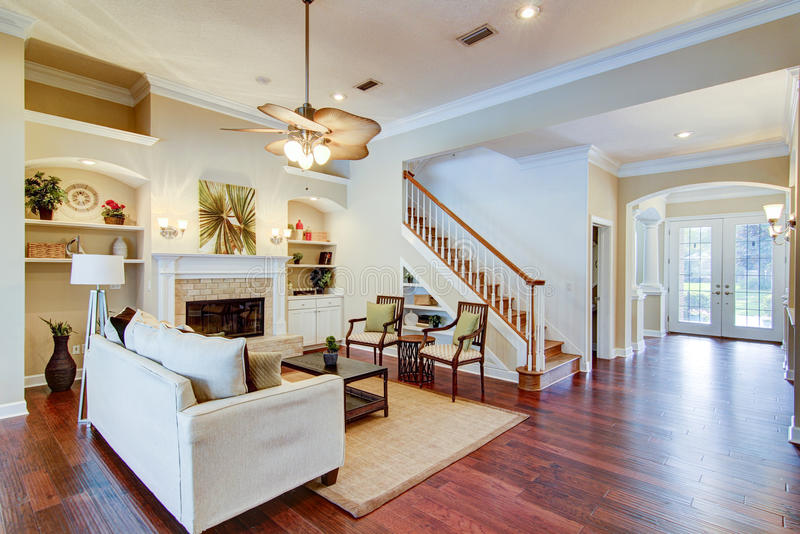 Family Living. Room with fireplace stock image
