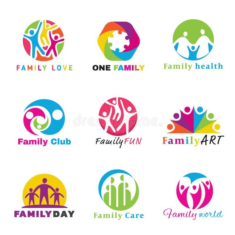 Family logo circle art vector set design royalty free illustration