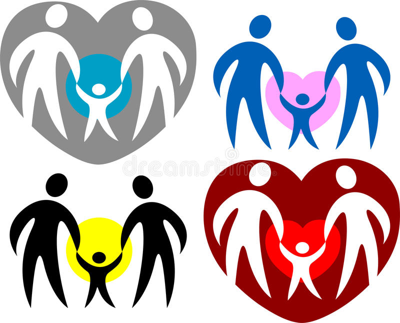 Family Logo/eps. Four abstract loving family symbol variations