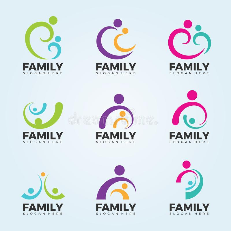 Family logo sign concept with abstract line art modern vector set design vector illustration