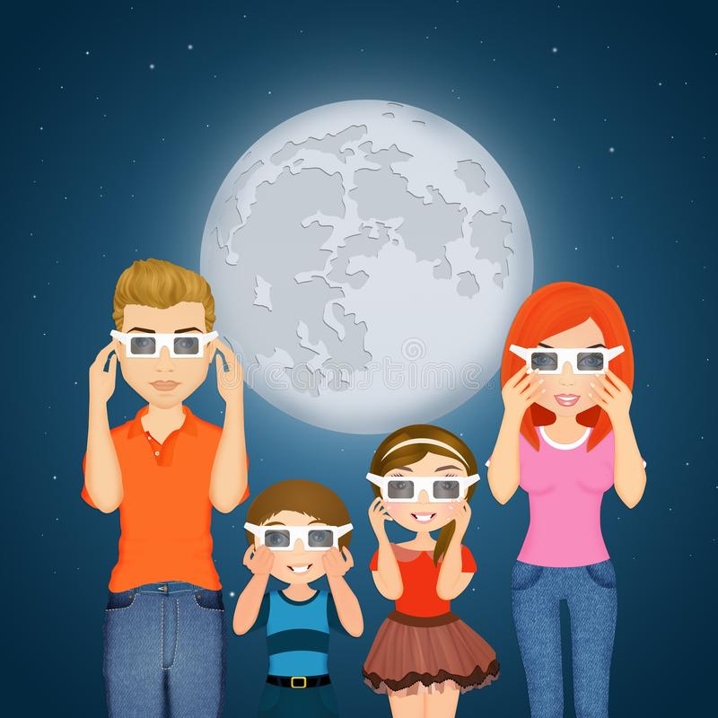 Family look the eclipse. Illustration of family look the eclipse stock illustration